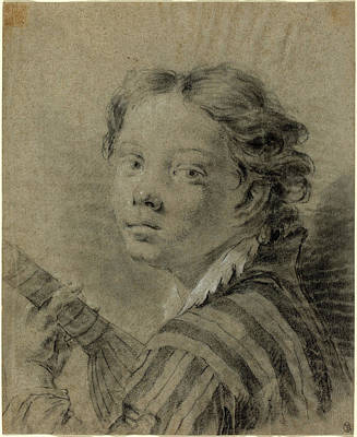 Lute Drawing - Giovanni Battista Piazzetta 1683-1754, A Boy With A Lute by Litz Collection