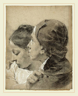 Fade Drawing - Giovanni Battista Piazzetta, A Young Man Embracing A Girl by Litz Collection