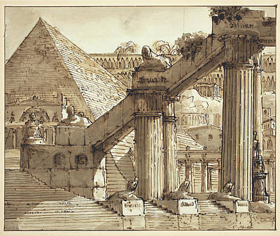 Wash Drawing - Giovanni Galliari, Italian 1746-1818, Egyptian Stage Design by Litz Collection