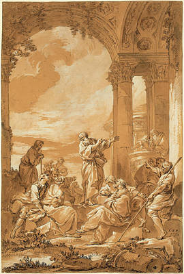 Light Orange Drawing - Giovanni Paolo Panini, Italian 1691-1765 by Litz Collection