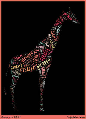 Giraffe Wall Art Art Print by Linda Brown