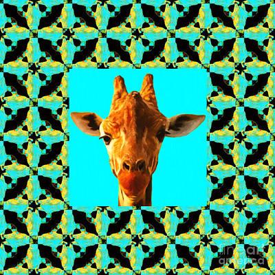Playful Digital Art - Giraffe Abstract Window 20130205p40 by Wingsdomain Art and Photography