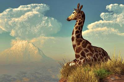 Giraffe And Distant Mountain Art Print by Daniel Eskridge