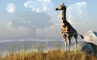 African Wildlife Digital Art - Giraffe And Giant Baobab by Daniel Eskridge