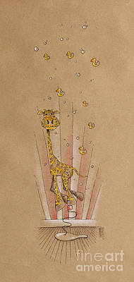 Giraffe Drawing - Giraffe And Rubber Duckies by David Breeding