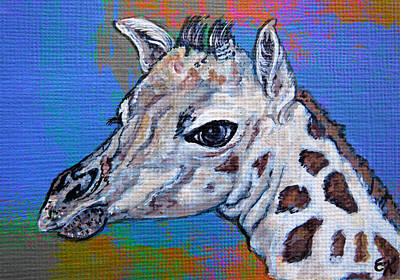 Giraffe Eyes Painting - Giraffe - Baby Announcement by Ella Kaye Dickey
