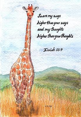 Watercolor Painting - Giraffe by Catherine Saldana