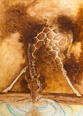 Painting - Giraffe Drinking by Kim Lagerhem