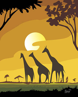 Recently Sold - Animals Digital Art - Giraffe Evening by Anthony Mwangi