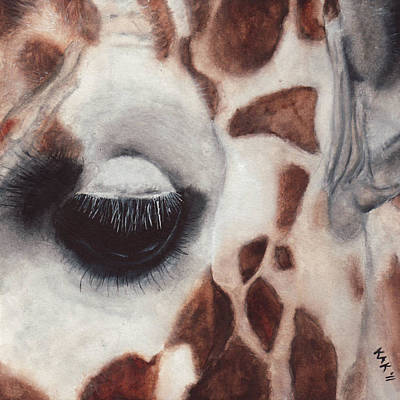 Giraffe Eyes Painting - Giraffe Eye by Katherine Klimitas
