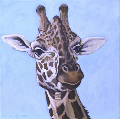 Giraffe Eye To Eye Art Print by Penny Birch-Williams