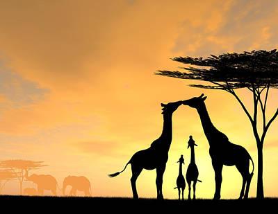 Giraffe Digital Art - Giraffe Family Love Two Kids by Kim Freitas