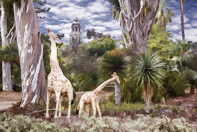Digital Art - Giraffe Family by Photographic Art by Russel Ray Photos
