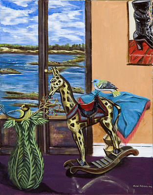 Painting - Giraffe Is Off His Rocker by Susan Culver