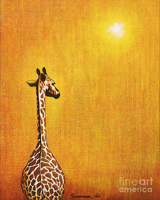 Animals Paintings - Giraffe Looking Back by Jerome Stumphauzer