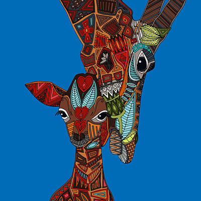 Giraffe Drawing - Giraffe Love Blue by Sharon Turner