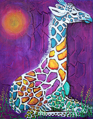 Sun Painting - Giraffe Of Many Colors by Laura Barbosa
