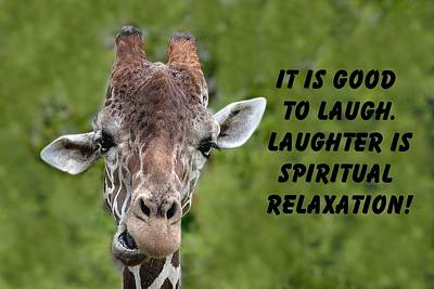 Photograph - Giraffe Quote-1 by Rudy Umans