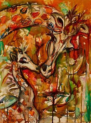 Mother And Baby Giraffe Painting - Giraffe by Rina Bhabra