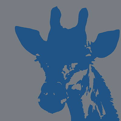 Giraffe Silhouette Grey Blue Art Print by Ramona Johnston
