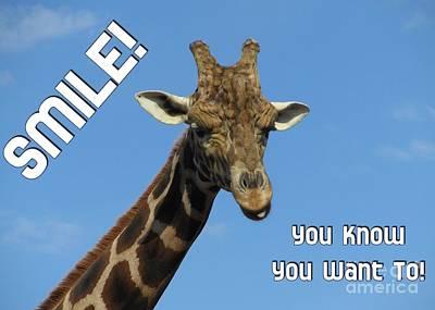 Digital Art - Giraffe Smile by JH Designs