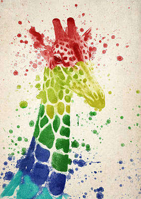 Vibrant Color Digital Art - Giraffe Splash by Aged Pixel