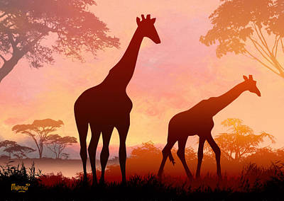 Park Scene Digital Art - Giraffe Twilight by Anthony Mwangi