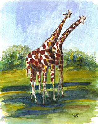 Painting - Giraffe Twins by Clara Sue Beym