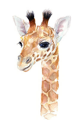 Giraffe Watercolor Print by Olga Shvartsur