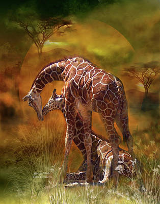 Giraffe World Art Print by Carol Cavalaris