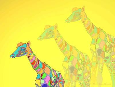 Friendly Digital Art - Giraffe X 3 - Yellow - The Card by Joyce Dickens