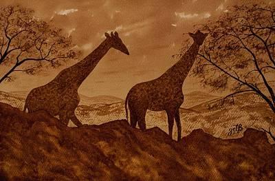 Coffee Painting - Giraffes At Dawn by Georgeta Blanaru