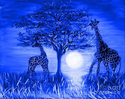 Painting - Giraffes. Blue by Oksana Semenchenko