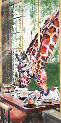 Cupcakes Digital Art - Giraffes Come To Tea by Jane Schnetlage