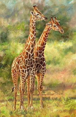 Giraffes Art Print by David Stribbling