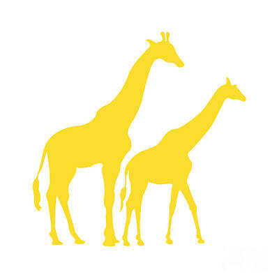 Digital Art - Giraffes In Golden And White by Jackie Farnsworth