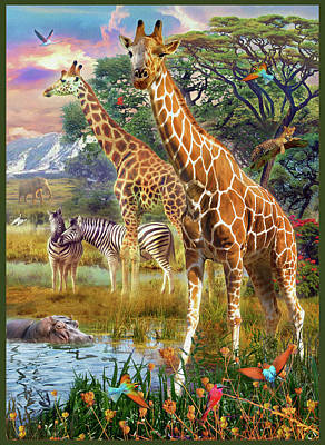 Art Print featuring the drawing Giraffes by Jan Patrik Krasny