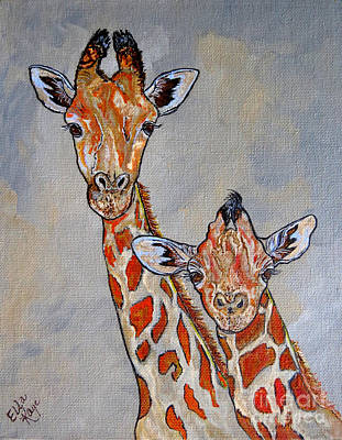 Painting - Giraffes - Standing Side By Side by Ella Kaye Dickey
