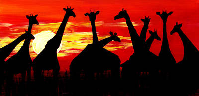 Painting - Giraffes Sunset Africa Serengeti by Katy Hawk