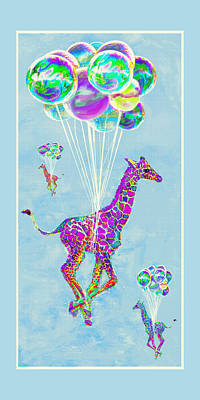 Digital Art - Giraffes With Balloons by Jane Schnetlage