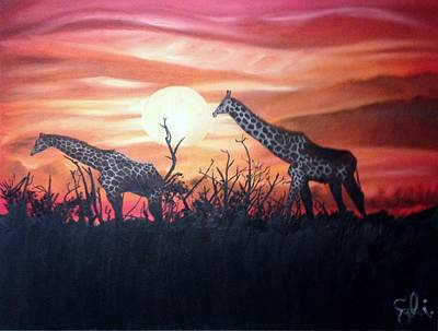 Painting - Giraffrica by Sean Ivy aka Afro Art Ivy