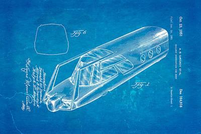 Girardy Railway Observation Car Patent Art 1951 Blueprint Art Print by Ian Monk