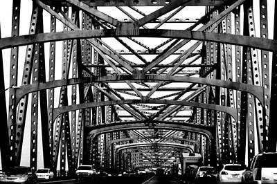 Photograph - Girders Over The Mississippi In Black And White by Nadalyn Larsen