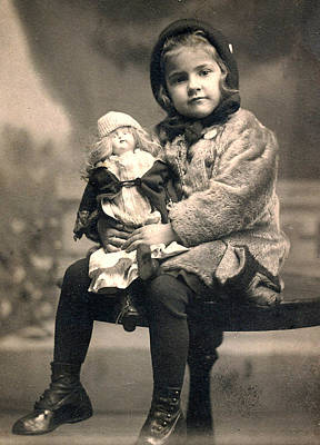 Girl With Doll 1913 Art Print