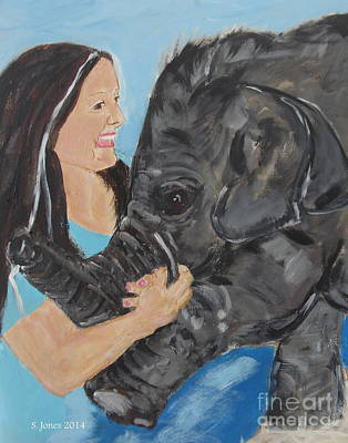 Painting - Girl And Baby Elephant by Shelley Jones