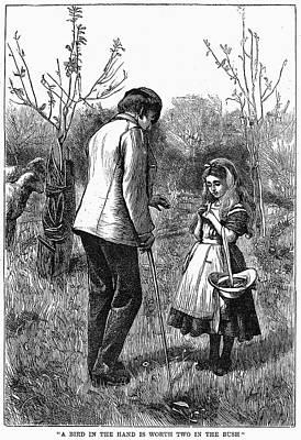 Girl And Bird, 1867 Print by Granger