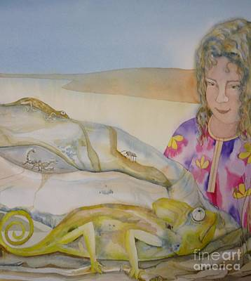 Painting - Girl And Chameleon by Donna Acheson-Juillet