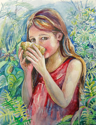 Girl And Coconut Art Print