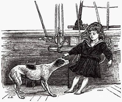 Photograph - Girl And Her Dog 1889 Book Illustration by Phil Cardamone