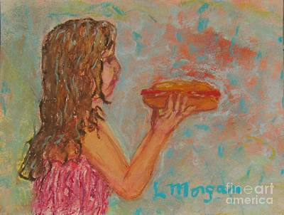 Painting - Girl And Her Hotdog by Laurie Morgan